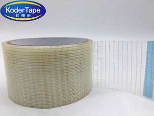 Transparent Glass Filament Tape Reinforced High Strength Cross Woven For Packing With 100-180mic Width